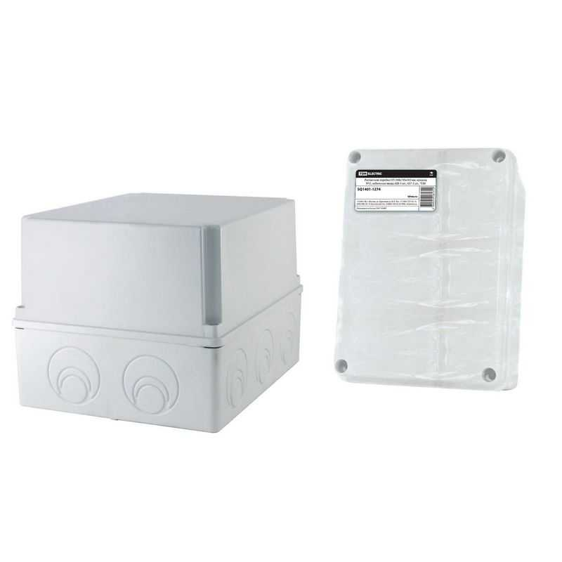 Распаячная коробка ОП 240х195х165мм, крышка, IP55, кабельные ввода d28-3 шт., d37-2 шт., TDM