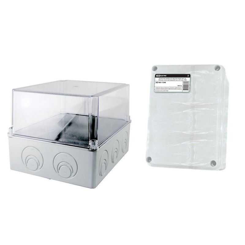 Распаячная коробка ОП 240х195х165мм, проз. кр, IP55, мон. плата, каб. ввод d28-3 шт., d37-2 шт., TDM
