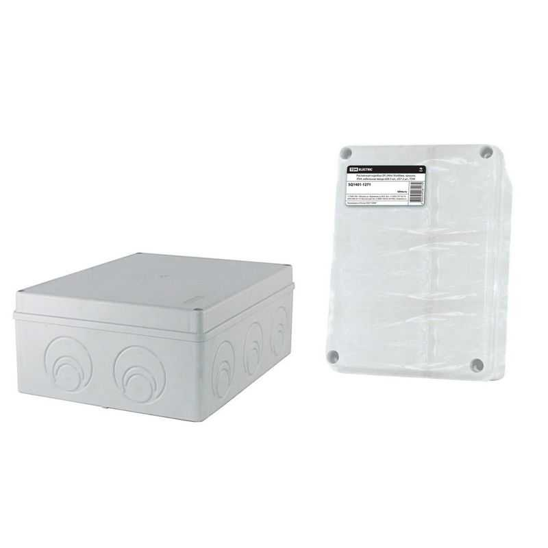 Распаячная коробка ОП 240х195х90мм, крышка, IP44, кабельные ввода d28-3 шт., d37-2 шт., TDM