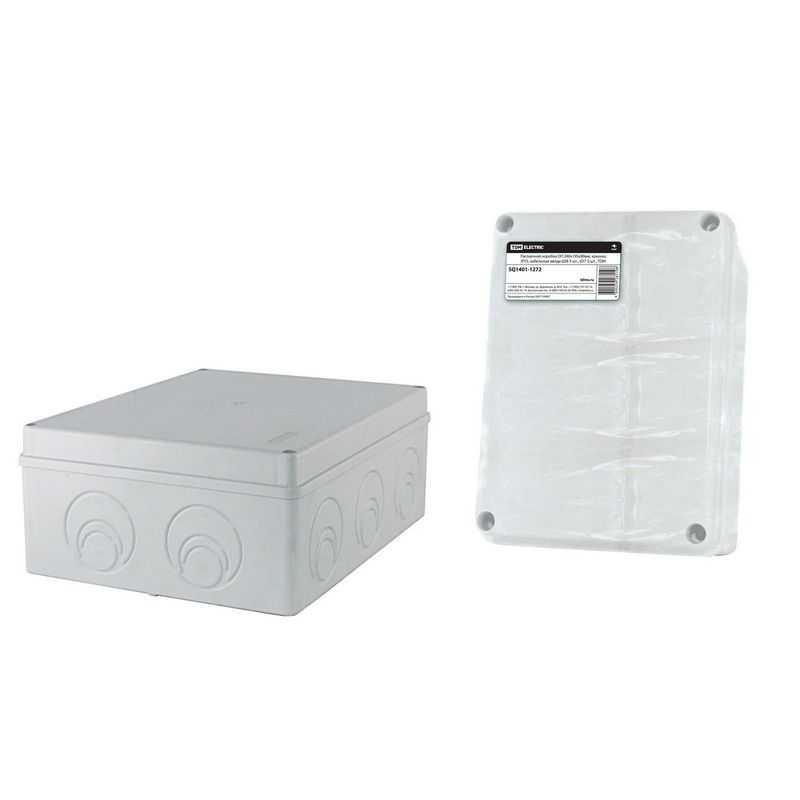 SQ1401-1272 Распаячная коробка ОП 240х195х90мм, крышка, IP55, кабельные ввода d28-3 шт., d37-2 шт., TDM электропродукция оптом, и розницу купить в Крыму, Симферополе, Севастополе магазин КСК