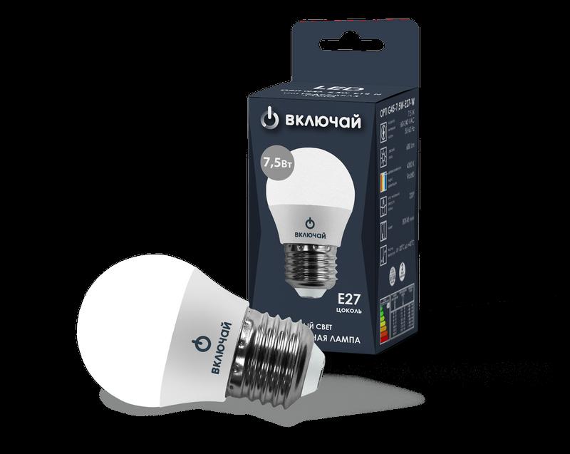 Лампа светодиодная LED шарик 7,5W E27 4000K 220V (LED OPTI G45-7,5W-E27-W) OPTI Включай