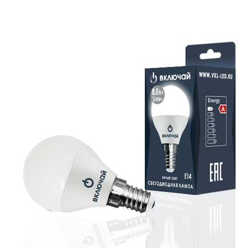 Лампа светодиодная LED шарик 8,5W E14 4000K 220V (LED OPTI G45-8,5W-E14-W) OPTI Включай
