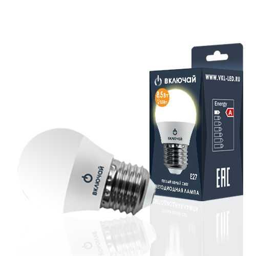 Лампа светодиодная LED шарик 8,5W E27 3000K 220V (LED OPTI G45-8,5W-E27-N) OPTI Включай