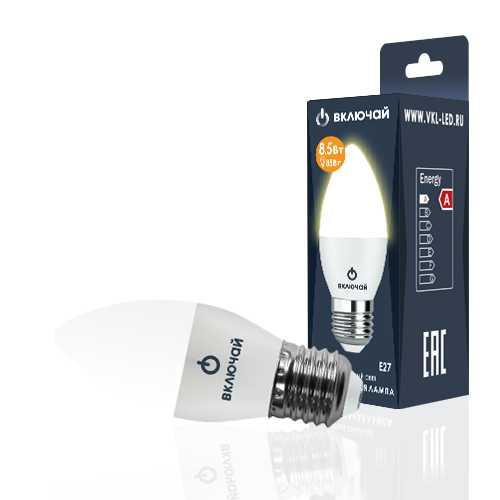 Лампа светодиодная LED свеча 8,5W E27 3000K 220V (LED OPTI C37-8,5W-E27-N) OPTI Включай